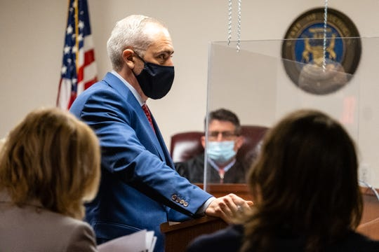 James Amberg, attorney for Ricardo Galan II, questions a witness during an examination hearing Monday, June 22, 2020, in front of St. Clair County District Judge Michael Hulewicz in the 72nd District Court in Marine City.