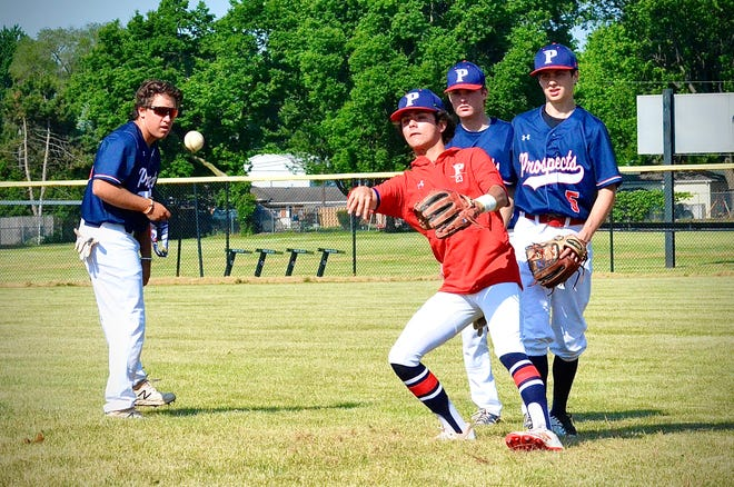 Cardinal Mooney junior Luc Julio warms up for Prospects Baseball Club during a travel baseball tournament on Saturday, June 20, 2020, at L'Anse Creuse North.