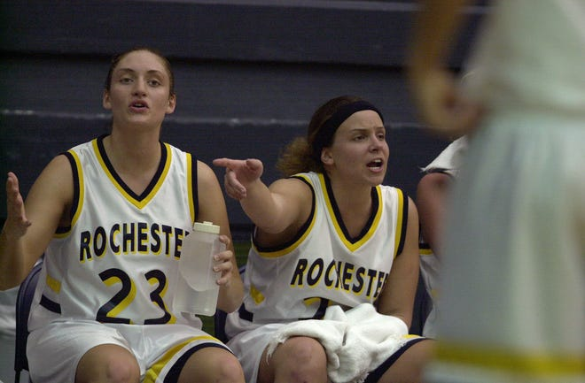 Rochester's Tara Carrozza (23) and Anne Gotstein (22) played key roles in the Yellowjackets' upset of No. 1-ranked Washington University in 2003.