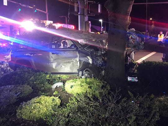A Salem man crashed into a power pole while fleeing police Sunday, June 21, 2020.