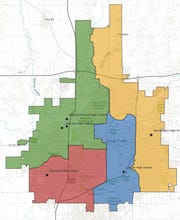 Shown is the map for the new high school boundaries, which take effect in fall 2021.