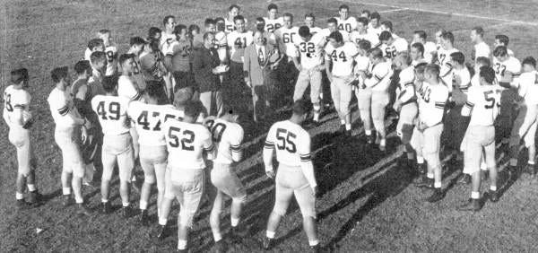 FSU football team being congratulated by President Campbell, 1950.