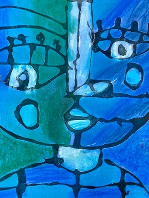 Tucker Couch used vibrant blues and greens for his portrait inspired by Canadian painter Sandra Silberzweig.