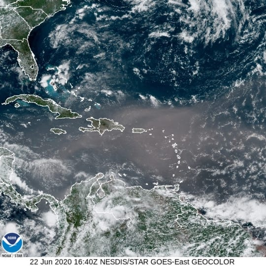 A plume of Saharan dust is making its way to the United States Monday, June 22, 2020.