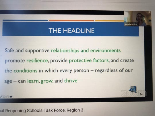 Natalie Walrond, director of the Center to Improve Social and Emotional Learning and School Safety, offers a presentation during Monday's virtual meeting of the Board of Regents' Reopening Schools Task Force.
