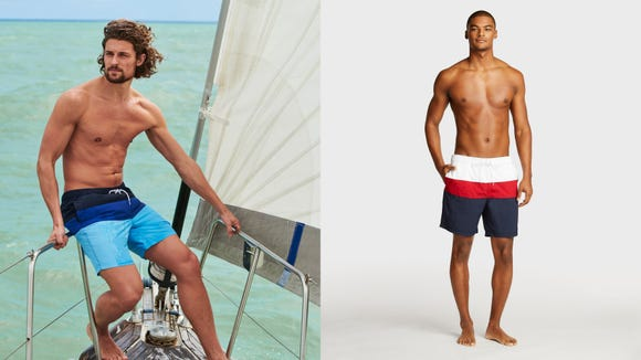 Celebrity Fashion: Gleaming swim trunks are made for the ocean.
