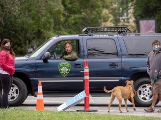 Golden Gate Park police at scene of statue toppling in San Francisco, on June 20, 2020.
