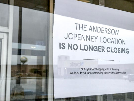 """A sign in the window of the J.C. Penney Anderson Mall location, at each of it's door entries, lets customers know """"The Anderson JCPenney Location is no longer closing,"""" S.C. Tuesday, June 23, 2020. """"Thank you for shopping with JCPenney. We look forward to continuing to serve the community,"""" the sign states."""