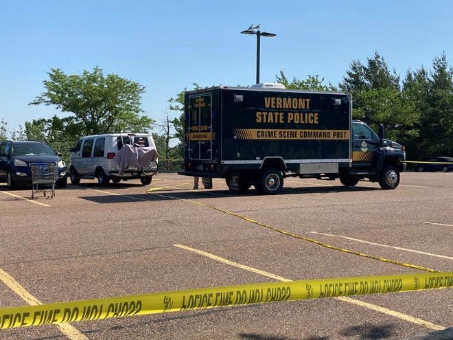 Vermont State Police crime scene investigators arrive in the Walmart parking lot in Williston where a dead body was discovered on Tuesday, June 23, 2020, inside the white van. The state agency is assisting Williston Police Department with the investigation.
