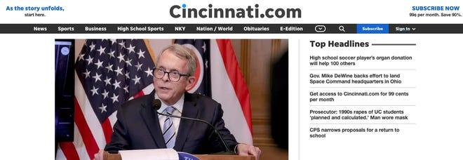 Cincinnati.com's new homepage