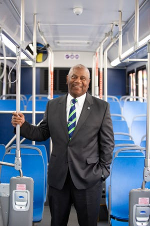 Darryl Haley, chief executive officer and general manager for Metro, poses for a portrait on Monday, June 22, 2020, on a bus in downtown Cincinnati.