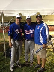 From right to left: MIke Murray Jr., Cape Cod League Chatham coach John Shiffner, a New Jersey native, and AJ Murray.