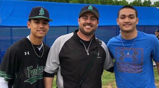 Mike Murray Jr., center, with former St. Joseph baseball stars Matt and Jon Sot.
