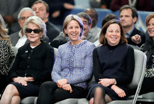 Detroit Lions owner and chairman Martha Firestone Ford, from left, vice chair Sheila Ford Hamp, and vice chair Elizabeth Ford Kontulis smile during a news conference to introduce new head coach Matt Patricia at their NFL Football training facility in Allen Park, Mich., Feb. 7, 2018.