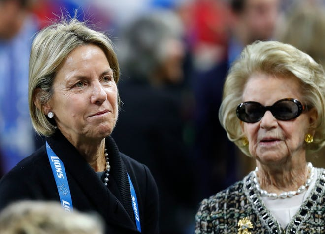 Sheila Ford Hamp, Detroit Lions Vice Chair, talks with Martha Ford, owner, before an NFL football game against the Minnesota Vikings in Detroit, Nov. 24, 2016.