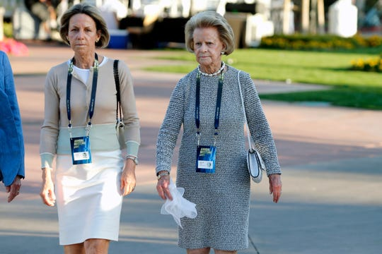 Detroit Lions owner and chairwoman Martha Firestone Ford, right, along with daughter Sheila Hamp, arrives at the annual NFL owner's meetings in Phoenix on March 24, 2019.