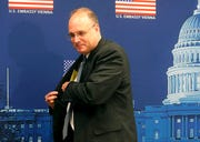 Marshal Billingslea, President Donald Trump's special envoy for arms control on talks with Russia's Deputy Foreign Minister Sergei Ryabkov on nuclear arms control, leaves after informing the press in Vienna, Austria, Tuesday, June 23, 2020.