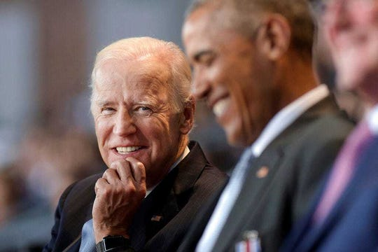 In this Jan. 4, 2017 file photo, Vice President Joe Biden appears with President Barack Obama at Conmy Hall, Joint Base Myer-Henderson Hall, Va. Obama and Biden are reuniting on Tuesday, June 23, 2020, for their first joint appearance of the 2020 campaign.