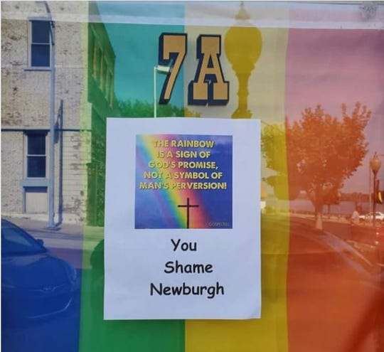 Sign posted on door of Ken Oliver