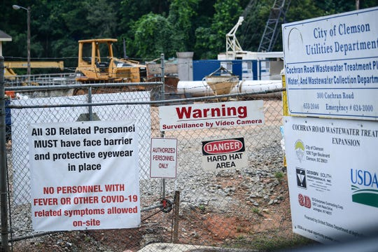 Construction at the expansion area of the City of Clemson Utilities Department Cochran Road Wastewater Treatment Plant June 2020.