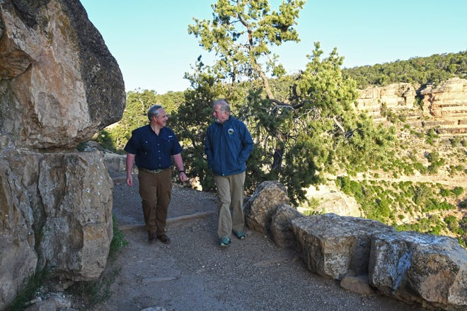 Assistant Interior Secretary Rob Wallace (right) with Interior Secretary David Bernhardt (left) at Grand Canyon National Park for the reopening a few weeks ago.