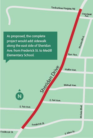 As proposed, the complete project would add sidewalk along the east side of Sheridan Ave. from the Frederick St. intersection north towards Medill Elementary School.