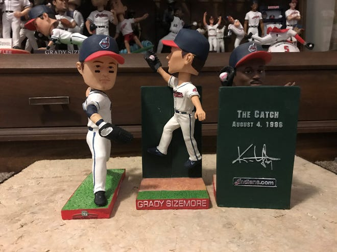 The 2010 Cleveland Indians stadium giveaway bobbleheads included a Shin-Soo Choo, a Grady Sizemore and a Kenny Lofton.