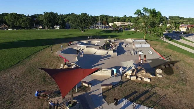 A rendering shows what the Tosa skatepark, located within Hart Park in the city, will look like when it's completed.