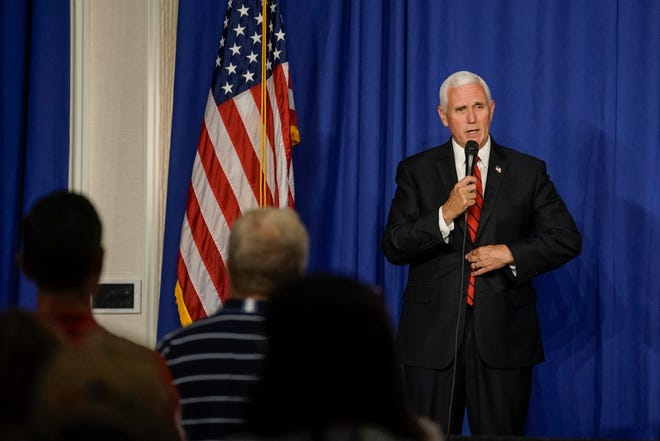 Vice President Mike Pence participates in an event at the Ingleside Hotel Tuesday, June 23, 2020, in Pewaukee, Wis.