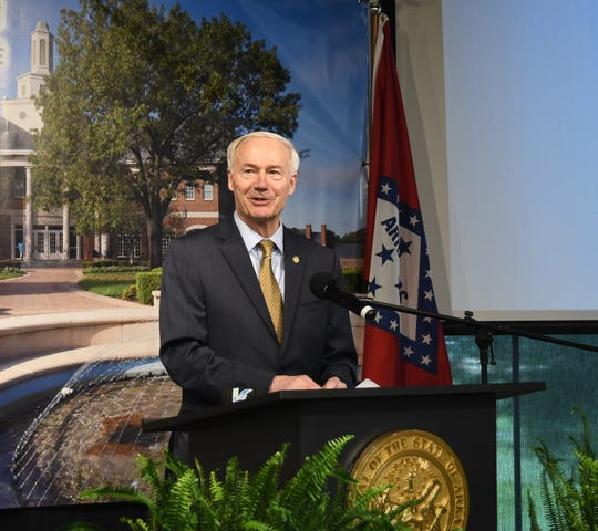 Gov. Asa Hutchinson holds his daily COVID-19 news conference from Arkansas State University-Mountain Home on Tuesday afternoon.