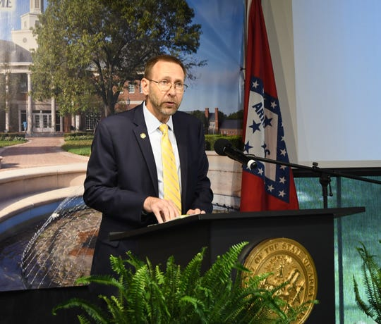 State Health Director Dr. Nate Smith speaks Tuesday at the governor's daily COVID-19 news conference.