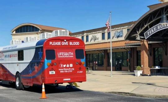 Donate blood through LifeSouth on Tuesday at Pike Road Town Hall.