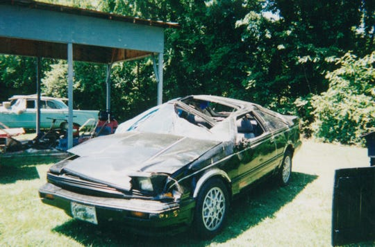 This car, driven by a 17-year-old Jeremy Johnson, left the road on Halls Hill Pike in 1998 and crashed, throwing Johnson from the vehicle. The teenager died at the scene, but was revived by EMT Carl Hudgens, who is now the director of Rutherford County Emergency Medical Services.