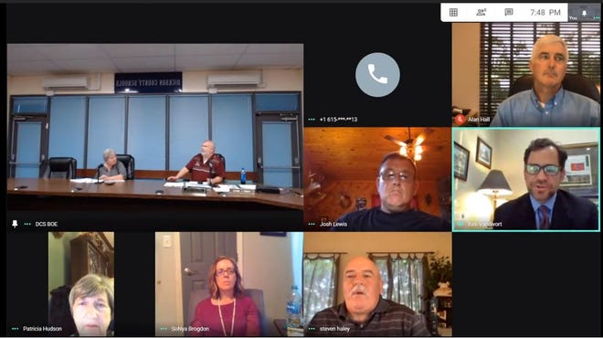 The Dickson County School Board has met virtually in recent weeks including the most recent board meeting (shown) June 18, which is then streamed on YouTube.