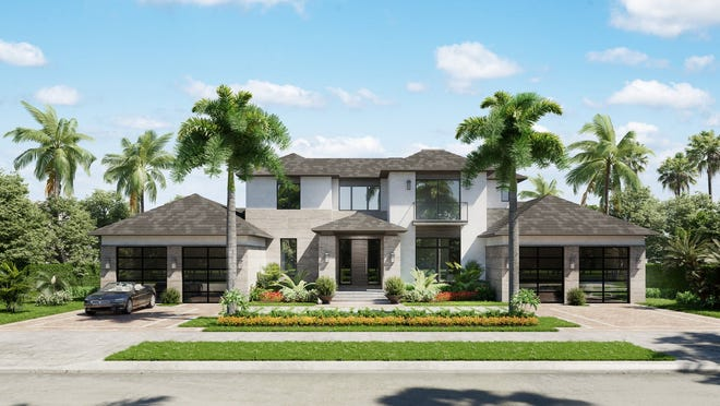 This 6,000+-square-foot under-air residence at 7190 Tory Lane in Bay Colony is under construction by Stock Custom Homes.