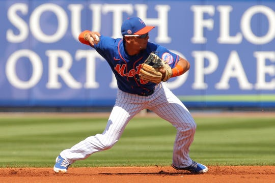 New York Mets shortstop Andres Alfonso Gimenez (60) retires St. Louis Cardinals first baseman Rangel Ravelo (not pictured) in the first inning at First Data Field.