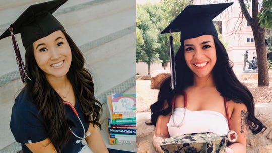 Sage Stewart, left, and Perla Arroyo-Jaime, right, graduated with bachelor's degrees in nursing from New Mexico State University's School of Nursing in May. They were part of a cohort of 60 undergraduates who received nursing degrees from NMSU this spring.