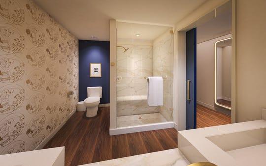 The bathroom of Circa's king room.