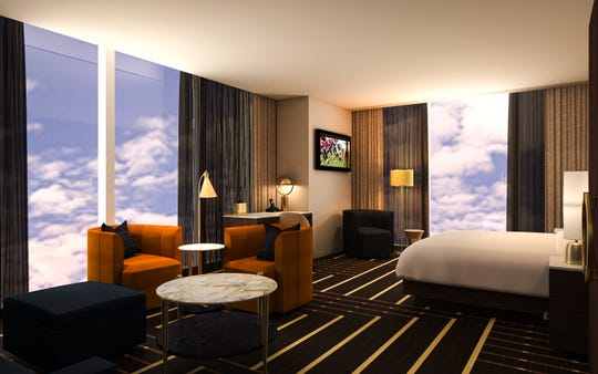 A premium corner king room at Downtown Las Vegas' Circa.