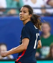 Tobin Heath in action against Japan in the 2020 She Believes Cup soccer series at Toyota Stadium on Mar 11, 2020.