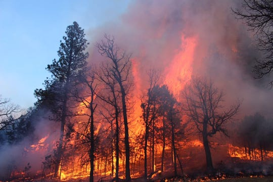 The Legion Lake Fire in December 2017 ignited from a downed power line and was discovered within 10 minutes of ignition but could not be contained for five days. The fire about 20 miles southeast of Mount Rushmore burned more than 54,000 acres.