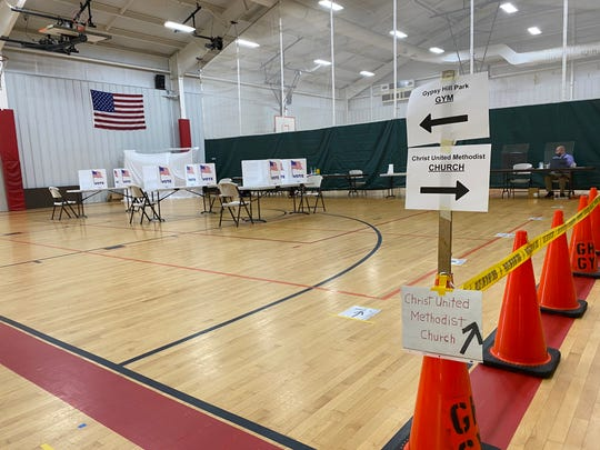 Voting at the Gypsy Hill Park gym in Staunton, which had two voting wards — Ward 2 and Ward 3 — that had been held in the same place due to the pandemic. People headed to the polls on June 23, 2020 to vote in the primary.
