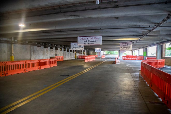 A drive-thru testing site in the Traditions Way Parking Garage on the Florida State University campus provides COVID-19 testing for faculty and staff beginning Wednesday, June 24, 2020.