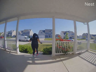 An Amazon delivery driver flees after making a delivery, just as the delivery instructions requested.