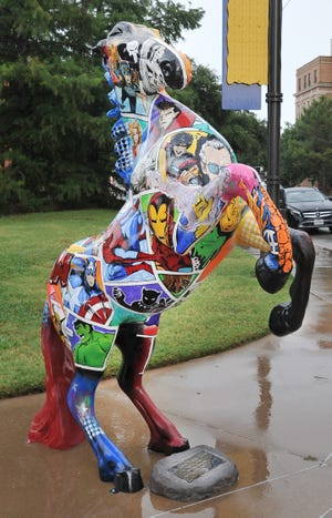 "Leadership Wichita Falls unveiled the city's latest Mane Event creation Monday afternoon titled ""Choose Your Side."""