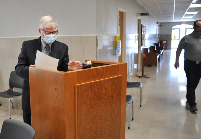 In this file photo, Wichita County Judge Woody Gossom is seen wearing a face mask. The judge said new COVID-19 cases have slowed in recent weeks and he credited the reduction, in part, to most people wearing face masks in public areas.