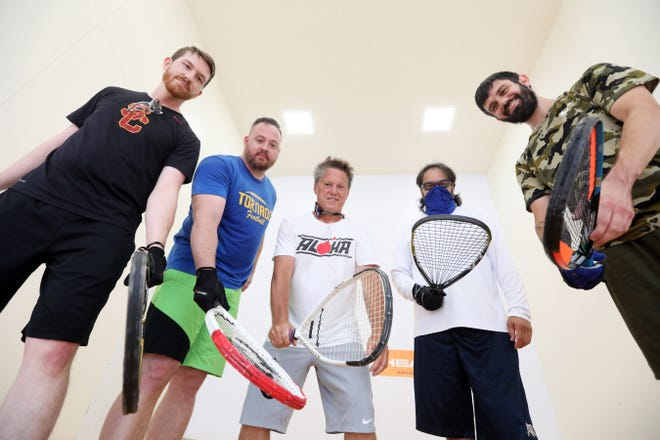 Grant Stubbins, left, Justin Middleton, David McConnell, Santos Ortega and Cody Meadows are heading to the US Racquetball Open in Minneapolis in October.