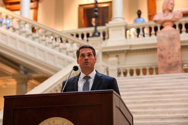 Lt. Gov. Geoff Duncan speaks on June 17, in Atlanta, proposing the hate crime bill for the state of Georgia.