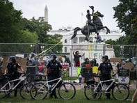 WASHINGTON, DC - JUNE 22:  Protesters attempt to pull down the statue of Andrew Jackson in Lafayette Square near the White House on June 22, 2020 in Washington, DC. Protests continue around the country over police brutality, racial injustice and the deaths of African Americans while in police custody. (Photo by Drew Angerer/Getty Images) ORG XMIT: 775526214 ORIG FILE ID: 1221977105