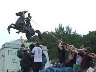 Tensions are on the rise as protesters tried to take down the Andrew Jackson statue in Lafayette Square near the White House in Washington, D.C.